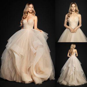 봄 컬렉션 얇은 직물 껍질 껍질 얇은 얇은 얇은 얇은 얇은 끈 공 가운 웨딩 드레스 Crisscross Draped Sweetheart Bodice