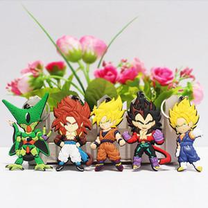 Anime Dragon Ball Z porte-clés Super Saiyan Fils Gokou Vegeta Porte-clés Chaînes PVC Pendentifs 5pcs / ensemble