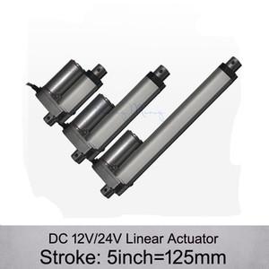 Frete grátis! Atuador linear elétrico da CC 12V / 24V 5inch / 125mm, carga 1000N / 100kgs Atuadores lineares da velocidade 10mm / s sem suportes de montagem