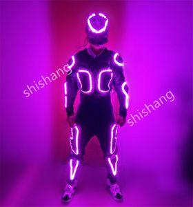 KJ001 Mit Maske Bunte Herren leuchtende LED-Kostüme / RGB-Licht-Kleidung glühende Ballroom Dance Roboteranzug wiederaufladbare bunte DJ-Kostüme