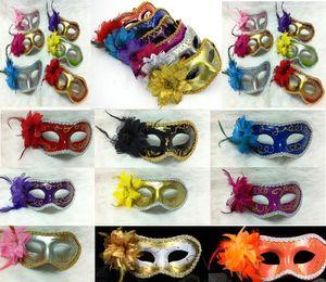 Женщины Сексуальная Hallowmas венецианская маска маскарадные маски с цветком перо маска танцевальная вечеринка Маска Венеция партии маски