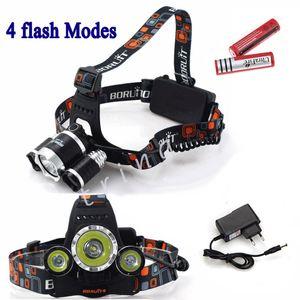 5000LM 3X CREE XML T6 LED Phare Phare 4 Mode Lampe de tête + AC Chargeur + 2 * 4200mAh 18650 batterie pour Sport Extérieur Camping lumière