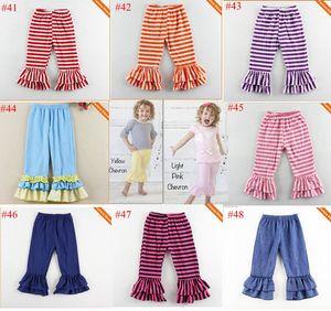Flare брюки детские рябить хлопок полная длина брюки Шеврон полосой сплошной цвет 48 цветов бесплатные ИБП Fedex корабль U выбрать размер цвет