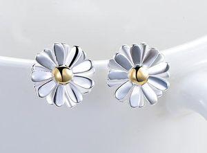 925 Sterling Silver Stud Earrings Bijoux mode Double couches de style élégant Tournesol Boucle d'oreille pour les femmes filles