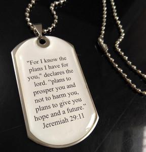 20pcs Geremia collana uomini 2911 pendente dell'acciaio inossidabile di gioielli religiosi Gesù Signori Prayer Bibbia Pendenti W / catene