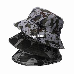3colors / bag frete grátis Algodão Vogue Camouflage Único chapéu ao ar livre selva Sunscreen Unisex Bucket Hat DUR1-3