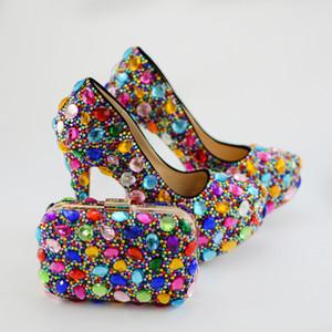 Renkli Rhinestone Düğün Gelin Ayakkabıları Debriyaj ile Kadınlar Parti Balo Yüksek Topuk Ayakkabı Eşleşen Çanta ile Artı Boyutu 45