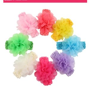 neue 8-Farben-Garn Haarschmuck Baby Haarband Kinder in Europa und Amerika Chiffon Blumenstirnband optional 16pcs