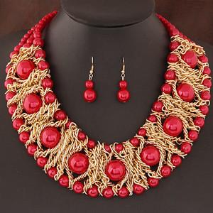 2019 Boutique Schmuck Sets Für Frauen Gold Überzogene Afrikanische Perlen Schmuck Set Party Zubehör Halskette Ohrringe Set Großhandel