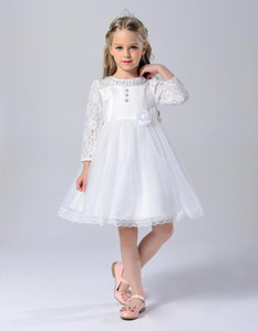 2016 Vestidos De Comunion Bianco prima comunione pizzo per ragazze Ball Gown Flower Girl Abiti per abiti da cerimonia nuziale Abiti