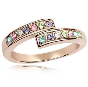 Rose Gold Plated Rings for Wome Wholesale Fashion Jewelryn Wedding Engagement Austrian Crystal Rings Charm Jewelry 4463
