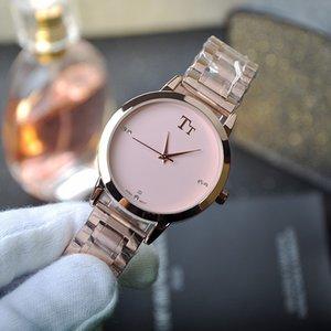 Yeni TT Marka Pembe Paslanmaz Çelik Kayış kadın Saatler Kadın Saatler Kişiselleştirilmiş Basit Moda Trendi