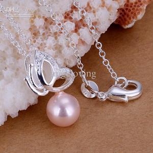 """Dazzling Gift 925 Silver Pink Pearl avec pendentif papillon collier dames collier 18 """"3 couleurs chaudes"""