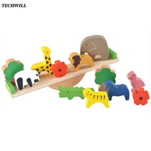 아기 장난감 귀여운 숲 동물 Seesaw 빌딩 블록 어린이 목조 균형 나무 장난감 창조적 인 조립 교육 완구
