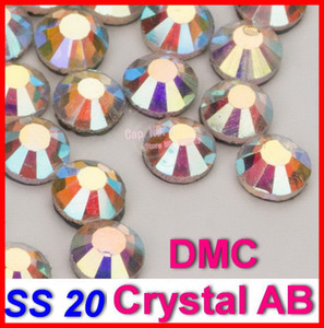 Al por mayor-SS20 1440pcs / bolsa Clear AB Crystal DMC HotFix FlatBack cristal Strass strass, ajuste de hierro en la transferencia de calor Hot Fix piedras de cristal