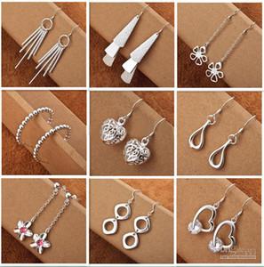 Mix stile 925 gioielli in argento Charme donne / ragazze orecchini pendenti 50 paia multi scelta orecchini ordine mix Spedizione gratuita Miglior regalo di Natale