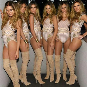 Inverno Coxa Botas Altas Dedo Apontado Sapatos de Salto Alto Sobre o Joelho Sapatos Altos Mulheres Botas Femmes Moda Slimming Elastic Long Boots