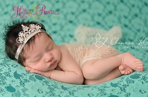 Diamond Crown Baby Baby Princess Princess Crystal Crystal Pearl Tiara Crown Head Correa Elástica Hairband Niños Joyería Accesorio