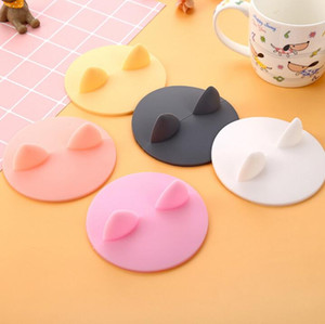 cute cartoons cat ear shaped cup cover food grade heat-resistant leakproof silicone lids coffee mug caps cover