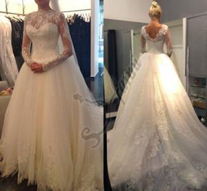 Nueva Llegada 2021 Vestido de novia de moda clásica con manga larga Cuello alto y V Trasera Vestido nupcial Apliques de encaje Falda de tul