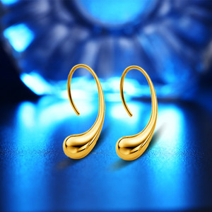 High Quality 18K Real Gold Plated Water Drop Design Lovely Stud Earrings For Women Drop Shipping