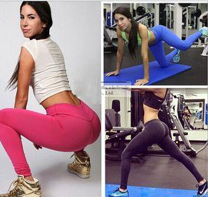 2015 nuova caramella colore Slim leggings stretch per le donne Moda fitness yoga pantaloni di colore solido sport Pantaloni spedizione gratuita