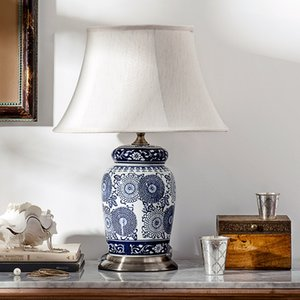 Pole home bedroom bedside study found that living room decorative lamps Kam Tang Chinese blue and white porcelain ceramic lamp