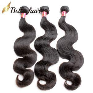 Cheap Body Wave Virgin Human Hair Bundles indiano Europeo peruviano Brasiliano Malesiana Cambogiana 3pcs Doppia trama Estensioni Bellahair