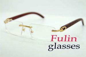 Großhandel Randlos Weinlese lesen Gläser Famous Design Licht Gewicht Holz Brillen Unisex für Frau T8100905 Silber Gold Metallrahmen