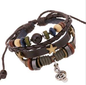 DIY Моды ручной подвески браслеты Ковбой панк стиль деревянные бусины музыка оценка подвески кожаные браслеты для мужчин ювелирные изделия
