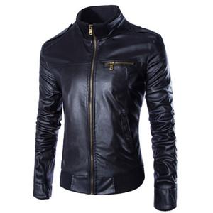 Atacado- New PU jaqueta de couro homens Blouson Moto Cuir Mens à prova de vento motocicleta biker Jacket Jaqueta de couro Veste Cuir Homme Y037
