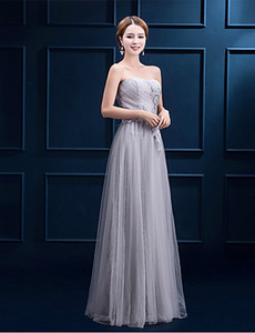 2016 New Cheap Custom Fabulous Free Shippping Silver A-line Lace-up Strapless Appliques Floor-length Tulle Bridesmaid Dress 118