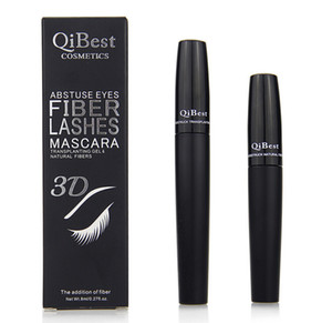 QiBest 3D Fibra Lashes Mascara Cosméticos Rímel Preto Duplo Mascara Set Maquiagem Lash Cílios À Prova D 'Água 2015 Nova Mascara 2 pcs = 1 conjunto