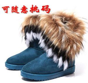 2017 sapatos QUENTES mulheres imitação de pele de raposa botas de neve Mid-Calf botas de inverno botas para as mulheres moda quente novo estilo 2015 novo. # DS088