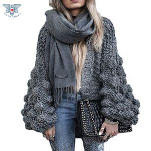 Venta al por mayor-2017 AutumnWinter de punto de ganchillo suéter para las mujeres Chunky Oversize Cardigan Coat Open femenino suéteres Cardigan mujeres prendas de punto