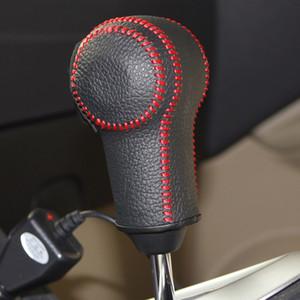 Caso para nissan qashqai x-trail automático gear shift knob capa mão-costurado couro genuíno diy engrenagem cobre couro