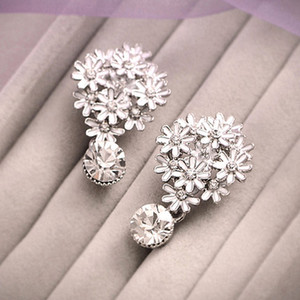 Hot Sale Silver Big Earrings For Women Diamond Crystal Bead Shining Wedding Earring Stud Earring Fashion Pageant Jewelry Accessories