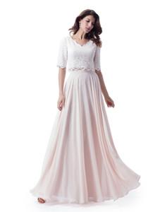 Deux pièces longues robes de demoiselle d'honneur modestes avec demi-manches en dentelle Top en mousseline de soie jupe Pastel Blushing rose 2 pièces robes de soirée de mariage