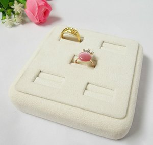 Jewelry Stand 5 Ring Slot Beige Velvet Tray Holder Wood Display Case