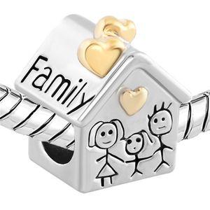 metallo Perle d'oro Casa Famiglia Genitori Bambini europeo fascino del distanziatore del braccialetto di Pandora Fit