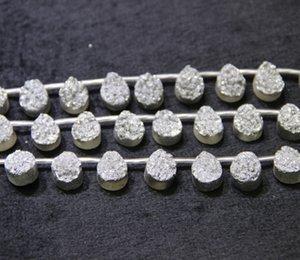 13X18mm 15.5 Perlas de Ágata Druzy de Plata de Titanio Más Largas Lágrima Natural Drusy Cristal Cuarzo Collar Colgante Joyas Hacer Conector