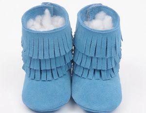 Süet hakiki deri bebek moccasins püsküller boot patik çocuk çift katmanlı saçak moccasins moccs kızlar 3 katmanlı saçak püskül çizmeler