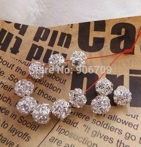 Gros-Livraison gratuite perles intercalaires Shamballa 8mm cristal blanc verre artisanat perles globuleuses, plaqué argent boules de strass pavé