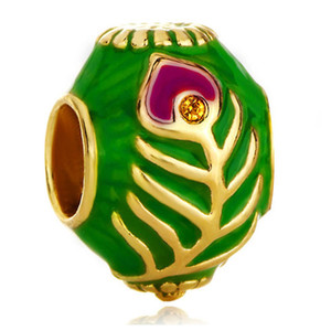 5pcs per lot Gold plating and Enamel Peacock Tail Faberge Egg charm Russion Beads Fits for Pandora Bracelets
