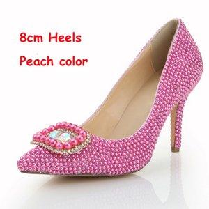 Femmes Soirée Dres Chaussures Couleur Peach Pearl Chaussures De Mariée Bout Pointu Boucle Carrée Pompes Habillées Formelles OL Nightclub Single Heels