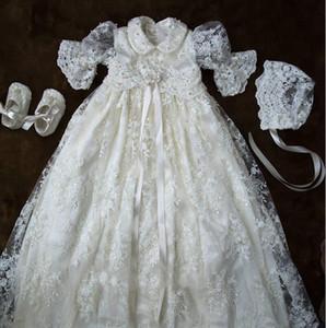 Zarif Tam Dantel İnciler Bebek Kız Için Vaftiz Törenlerinde Lüks Uzun Kollu Vaftiz Elbiseler Ile Bonnet İlk İletişim Elbise