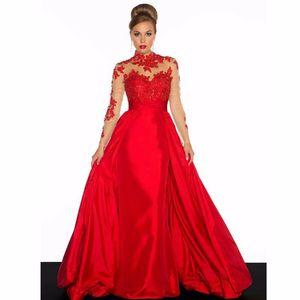 2016 de manga larga sin respaldo rojo apliques de encaje vestidos de noche corte tren cuello alto desnudo colorido una línea de tafetán vestidos de noche vestidos d033