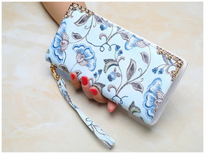 New women flower printed vintage wallets lady long style zipper purse female fashion casual zero wallets phone bag blue grey beige no356