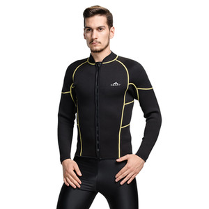 SBART 3MM Neoprene Wetsuit Top Men Long Sleeve Sunscreen UV Warm Surfing Jacket For Diving Spearfishing Wet Suit Shirt Size 4XL
