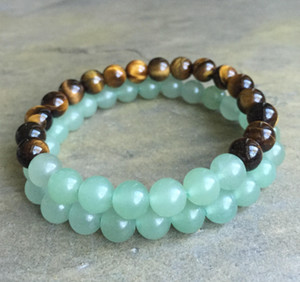 8mm Tiger Eye Armband, grüne Aventurin Armband, Edelstein Perlen Armband elastischen Edelstein Armband, Geschenke
